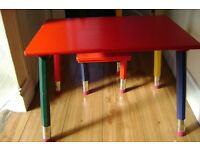 CHILDS PENCIL TABLE & CHAIR