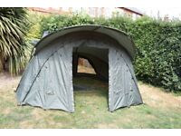 Carp Fishing 2 man bivvy, c/w overwrap. Complete and in 'as new' condition.