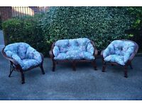 Comfortable three peace conservatory furniture, consisting two seater sofa and two chairs.