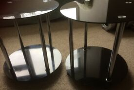 2 x black, glass, circular side-tables