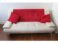 Nearly new white leather sofa bed £90 ONO