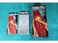 Merlin Electronics Games Machine by Palitoy (Plays 6 games) in original box with all instructions.