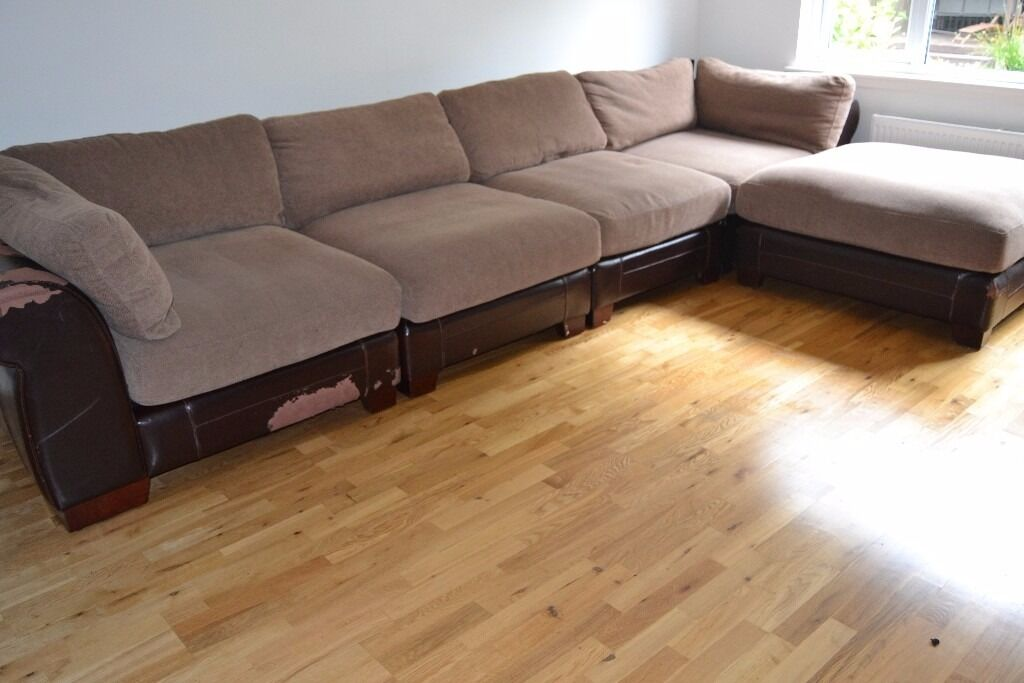 Huge Corner Sofa 5 Pieces Slot Together Various Combinations Vgc But Some Damage To