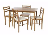 NEW 5PC 5 Piece Oak-Effect 4 Chairs Table Dining Set