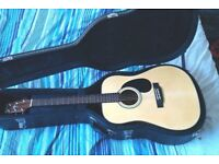 crafter HD24/NT quality beginner steel string acoustic guitar with hard case