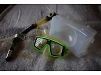 Mares prescription diving mask with case and Oceanic snorkel