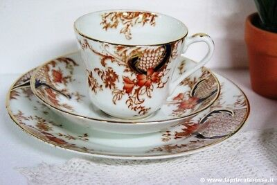 ANTICA TAZZA DA TE IN PORCELLANA + PIATTINO DOLCE  - TRIO INGLESE WARWICK CHINA