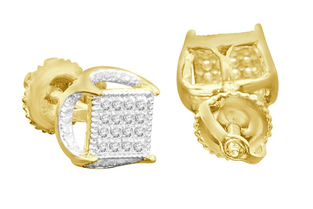 .11 CARAT YELLOW GOLD FINISH MENS WOMENS 5 mm 100% REAL DIAMONDS EARRINGS STUDS 2