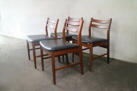 4 x 1970's mid century British black vinyl dining chairs