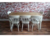 Two to Twelve Seater Rustic Farmhouse Extending Dining Table Set - Brand New