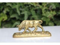 Unusual Vintage Brass Bull Paperweight / Figurine French Antique Brass Animal