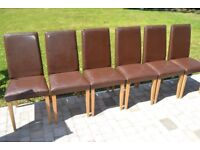 6 dining room chairs, dark brown faux leather