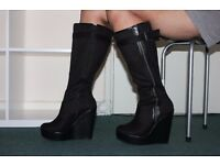 Faux Suede Wedge Boots LIKE NEW (NEVER WORN)
