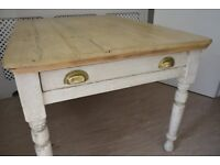 Antique pine shabby chic painted kitchen dining table brass handled draw