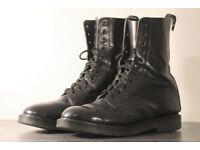 Solovair Black Mens Boots Hi-Shine 11-Eye Derby (Dr Martens Style) SIZE UK 11 (EU 46)