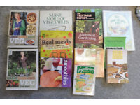 collection of cook books/growing/vegan/vegetation