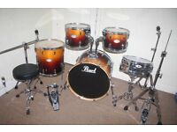 "Pearl Vision Series Tobacco Fade 5 Piece Full Drum Kit (22"" Bass) + Cymbal Set + Stands + Stool"