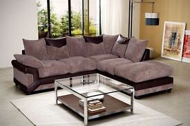 **FREE DELIVERY** BRAND NEW JUMBO CORDED FABRIC DINO CORNER SUITE IN BLACK BROWN LEATHER FINISH 3+2