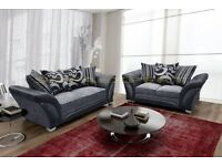 BRAND NEW CHENILLE FABRIC + LEATHER SHANNON CORNER OR 3 + 2 SOFA IN BLACK/GREY OR BROWN/BEIGE