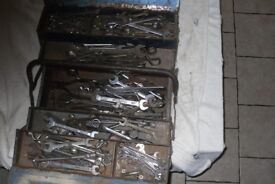 SELECTION OFUSED MIXED SPANNERS DIFFERENT TYPES AND SIZES