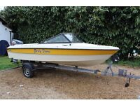 A Flipper 15' Speedboat Dayboat with 55hp Yamaha Engine on trailer