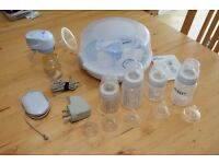Philips Avent Electric Breast Pump, Microwave steriliser and bottles
