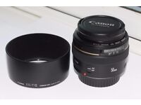 Canon 50mm f1.4 EOS camera lens and hood. Fits Canon EOS full frame and cropped bodies