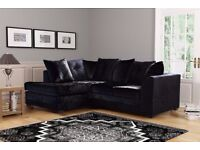 Dylan Byron Black Grey Crushed Velvet Fabric Sofa Settee Couch 3+2 3 AND 2 SEATER SOFA