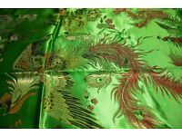 Beautiful green CHINESE SILK hand-embroidered fabric / cloth - CHARITY SALE