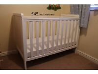 Mothercare white cot including mattress