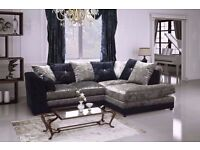 ** HUGE SALE **BRAND NEW CRUSH VELVET CORNER SOFA SET IN VARIOUS COLORS FOR SALE -SAME DAY