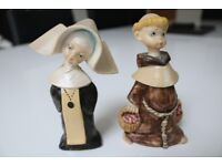 PAIR OF DEPOSE FIGURES OF A NUN AND MONK