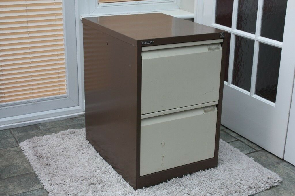 Filing Cabinet Metal Bisley Two Drawer With Cardboard Separation Leaves