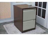 Filing cabinet. Metal Bisley two drawer filing cabinet with cardboard separation leaves.