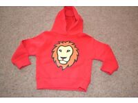 DESIGNER - PAWPRINTS RED HOODIE WITH LION ON THE FRONT - NEW