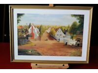 Vintage 'American Village' print by P.B. Gray