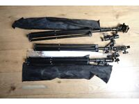 Softbox, 3 umbrellas, stands, swivels, mounts, and brackets, carry all bag