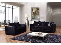 BRAND NEW DYLAN CORNER AND 3+2 SEATER SOFA SUITE - SILVER & BLACK COLOR CRUSHED VELVET FABRIC