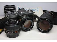 Minolta XD7 classic film camera,50mm f1.4, 28mm f2.8, 50-135mm f3.5 plus extension tubes