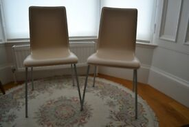 Pair of leather dining chairs - cream colour