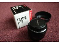 Canon EF 50 mm f/1.8 II Prime Lens with box, caps, filter and hood