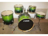 Sonor Essential Force Green to Black Fade 5 Piece Drum Kit (22 in Bass) - Drums Only