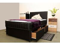 "DIVAN BED BASE LUXURY ORTHOPAEDIC AND MEMORY FOAM 10"" MATTRESS IN ALL SIZES! STORAGE HEADBOARD"