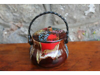Nicely Glazed Vintage French Vallauris Pot Trinket Dish with Twisted Metal Handle France Ceramic