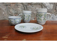 Handmade pottery produced by Potter Louise Darby - Milk Jug, Sugar Bowk, Mug and Side Plate Art