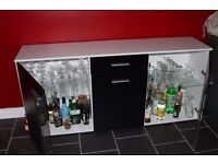 cocktail bar drinks cabinet. display cabinet. black and white