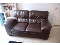 3 & 2 Seater Sofas - Brown leather.