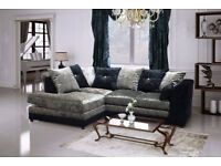 BRAND NEW CRUSHED VELVET CORNER SOFA BLACK/SILVER + DELIVERY 8659UCUUAAA