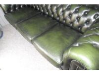 CHESTERFIELD 3 SEATER LEATHER SOFA, IMMACULTE CONDITION , BARGAIN £425