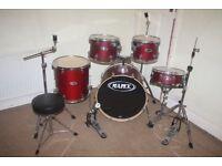 Mapex V Series Matt Cherry Red 5 Piece Full Drum Kit (22 inch Bass) + Stands + Stool + Cymbals